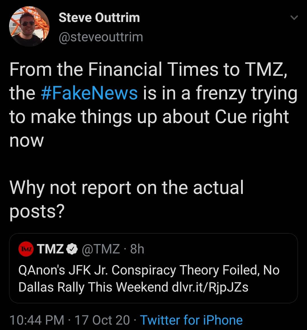 From the Financial Times to TMZ, the #FakeNews is in a frenzy trying to make things up about Cue right now.