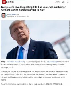 Trump signs law designating 9-8-8 as universal number for national suicide hotline starting in 2022
