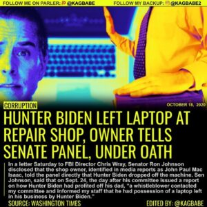 HUNTER BIDEN LEFT LAPTOP AT REPAIR SHOP, OWNER TELLS SENATE PANEL, UNDER OATH