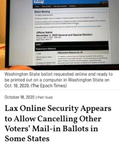 Lax Online Security Appears to Allow Cancelling Other Voters' Mail-in Ballots in Some States