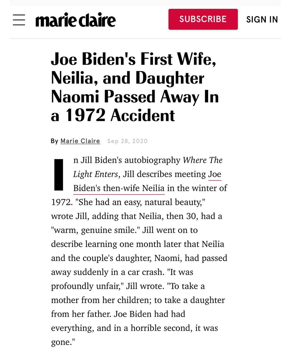 Joe Biden's First Wife, Neilia, and Daughter Naomi Passed Away In a 1972 Accident
