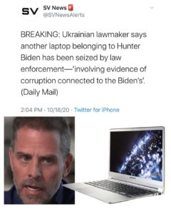 Ukrainian lawmaker says another laptop belonging to Hunter Biden has been seized by law enforcement-'involving evidence of corruption connected to the Biden's'.