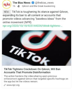 TikTok Tightens Crackdown On QAnon, WillI Ban Accounts That Promote Disinformation