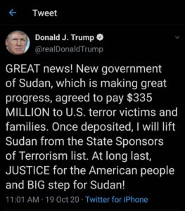 GREAT news! New government of Sudan, which is making great progress, agreed to p