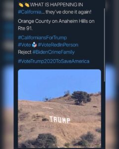 The TRUMP sign has been erected once again, this time off the 91 in Anaheim Hill