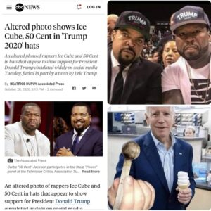 Altered photo shows Ice Cube, 50 Cent in 'Trump 2020' hats