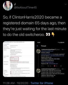 So, if ClintonHarris2020 became a registered domain 65 days ago