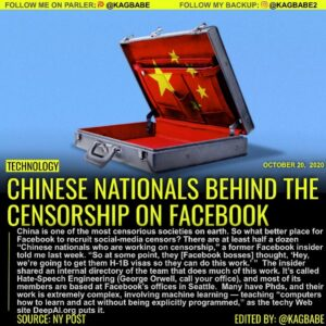"""There are at least half a dozen """"Chinese nationals who are working on censorship"""