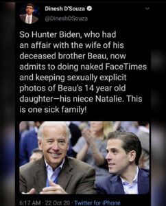 """So Hunter Biden, who had an affair with the wife of his deceased brother Beau, now admits to doing naked FaceTimes and keeping sexually explicit photos of Beau's 14 year old daughter—his niece Natalie."