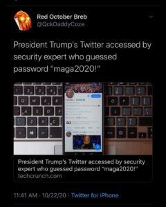 "President Trump's Twitter accessed by security expert who guessed password ""maga2020!"""