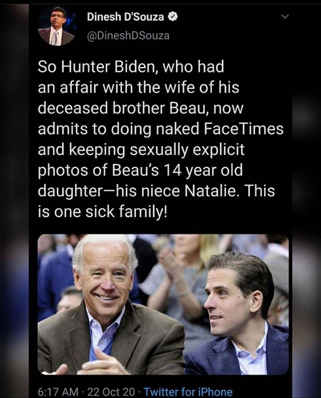 Hunter Biden, now admits to doing naked FaceTimes and keeping sexually explicit photos of Beau's 14 year old daughter-his niece Natalie