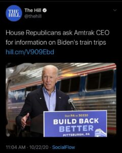 House Republicans Ask Amtrack CEO for Information on Biden Train Trips