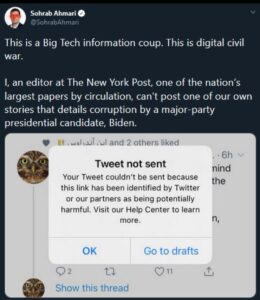You can't post a link to an article on Twitter that details corruption by a majo