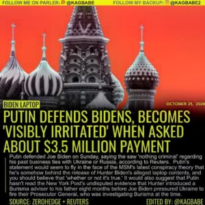 Russian President Vladimir Putin defended Hunter Biden on Sunday, saying the saw