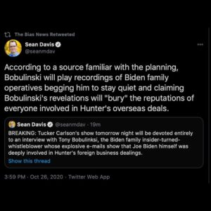 – Bobulinski will be playing recordings of Biden family operatives begging him t