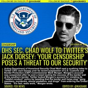 Acting Department of Homeland Security Chad Wolf sent a scathing letter to Twitt