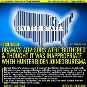 Read more about the article OBAMA'S ADVISORS WERE 'BOTHERED' & THOUGHT IT WAS INAPPROPRIATE WHEN HUNTER BIDENJOINED BURISMA