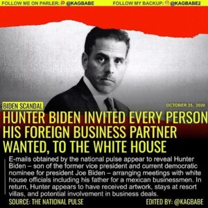 HUNTER BIDEN INVITED EVERY PERSON HIS FOREIGN BUSINESS PARTNER WANTED, TO THE WHITE HOUSE