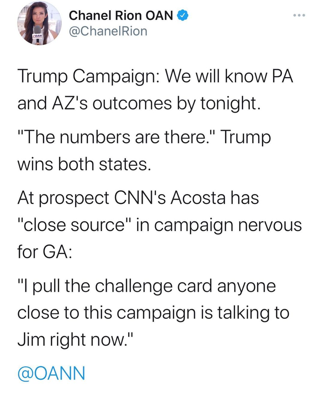 """Trump Campaign: We will know PA and AZs outcomes by tonight. """"The numbers are there."""" Trump wins both states."""