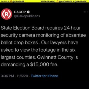 State Election Board requires 24 hour security camera monitoring of absentee ballot drop boxes .