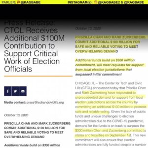PRESS RELEASE CTCL Receives Additional $100M Contribution to Support Critical Work of Election Officials