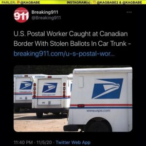 U.S. Postal Worker Caught at Canadian Border With Stolen Ballots In Car Trunk