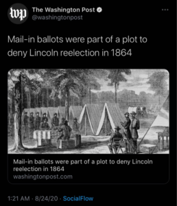 Mail-in ballots were part of a plot to deny Lincoln reelection in 1864