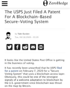 The USPS Just Filed A Patent For A Blockchain-Based Secure-Voting System