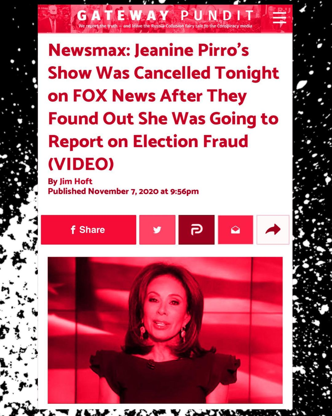You are currently viewing Fox News cancelled  Learning that she was going to report on voter fraud  i⃨ n⃨e