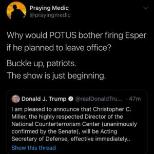 Why would POTUS bother firing Esper if he planned to leave office?