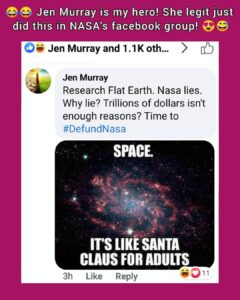Jen Murray is my hero! She legit just did this in NASA's Facebook group!