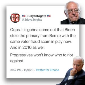 Oops. It's gonna come out that Biden stole the primary from Bernie with the same voter fraud scam in play now.