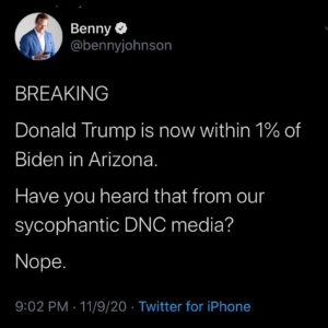 BREAKING Donald Trump is now within 1% of Biden in Arizona.