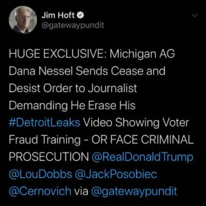 HUGE EXCLUSIVE: Michigan AG Dana Nessel Sends Cease and Desist Order to Journalist Demanding He Erase His Detroit Leaks Video Showing Voter Fraud Training OR FACE CRIMINAL PROSECUTION
