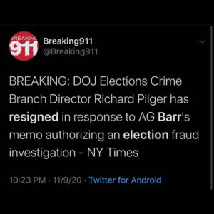 BREAKING: DOJ Elections Crime Branch Director Richard Pilger has resigned in response to AG Barr's memo authorizing election fraud investigation