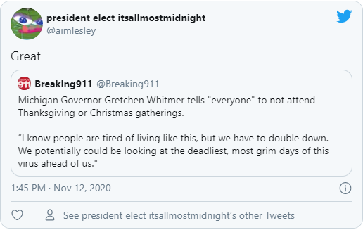 """Michigan Governor Gretchen Whitmer tells """"everyone"""" to not attend Thanksgiving or Christmas gatherings."""