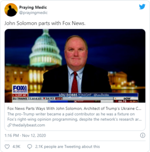 John Solomon parts with Fox News.