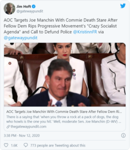 "AOC Targets Joe Manchin With Commie Death Stare After Fellow Dem Rips Progressive Movement's ""Crazy Socialist Agenda"" and Call to Defund Police"