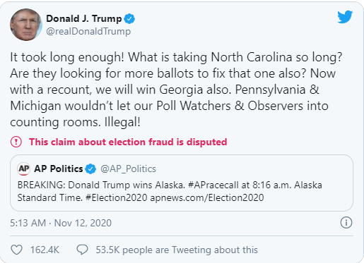 It took long enough! What is taking North Carolina so long? Are they looking for more ballots to fix that one also?
