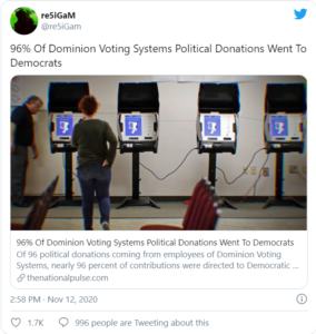 96% Of Dominion Voting Systems Political Donations Went To Democrats