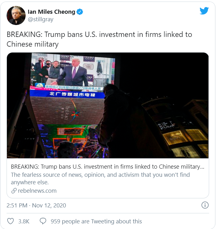 BREAKING: Trump bans U.S. investment in firms linked to Chinese military
