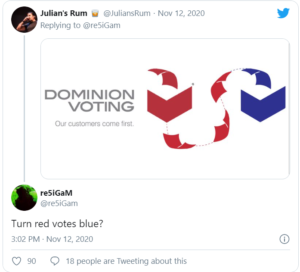 DOMINION VOTING – Turn red votes blue?