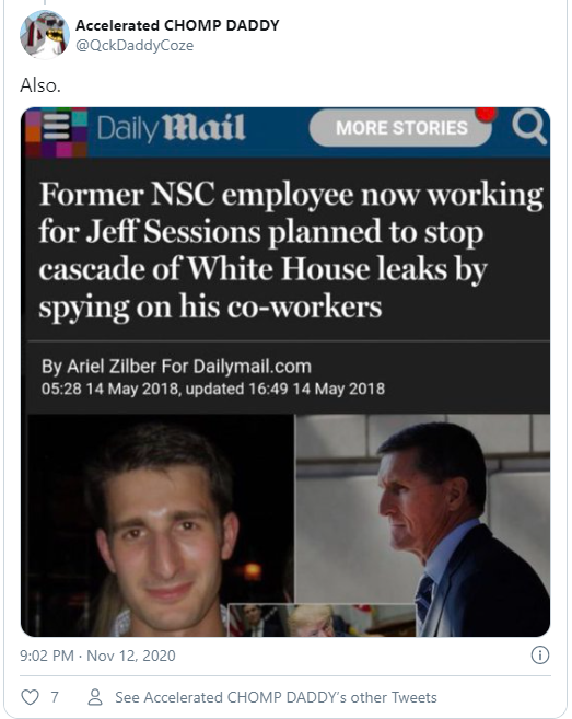 Former NSC employee now working for Jeff Sessions planned to stop cascade of White House leaks by spying on his co-workers