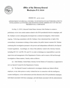Copy of the order from Barr appointing John Durham as special counsel of the inv