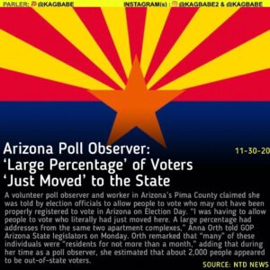 A volunteer poll observer and worker in Arizona's Pima County claimed she was to