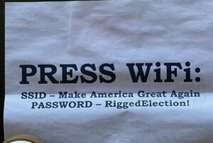 Great work @TeamTrump ! Check out the press WiFi password tonight at the @realD