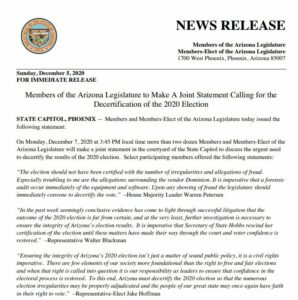 Read more about the article BREAKING: 28 Members of Arizona Legislature Call for the Decertification of the