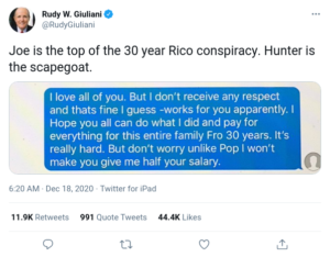 Joe is the top of the 30 year Rico conspiracy. Hunter is the scapegoat.