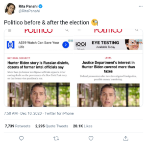 Politico before & after the election