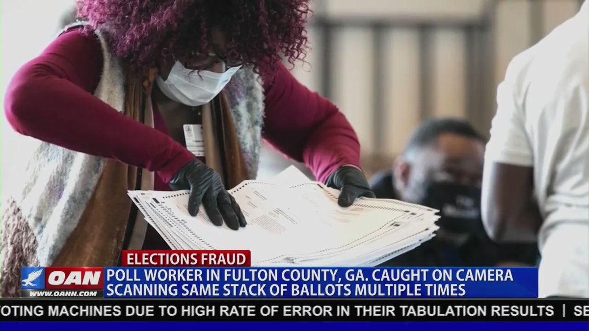 CAUGHT: Surveillance footage shows Georgia poll worker scanning the same batch o